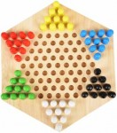 Wooden Chinese Checkers Hexagon Board with Wooden Marbles Family Game Set Multicolor Party & Fun Games Board Game