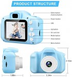 "Kids Camera Children Digital Cameras Toys 1080P 2.0"" IPS Screen FHD Toddler Video Recorder Great Birthday Gifts for Kids (Blue)"