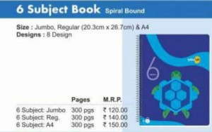Navneet 6 Subject Book (Spiral Book)(A/4)(300pgs)