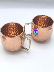 2 Pc Hammered Copper Mugs