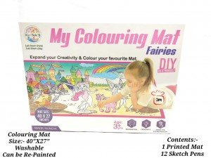 RATNA'S Premium Quality My Coloring MAT for Kids Reusable and Washable. Big MAT for Coloring. MAT Size(40 INCHES X 27 INCHES) (FARIES THEME)