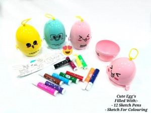 CUTE EGGS DILLED WITH MINI SKETCH  PENS (12 PC)
