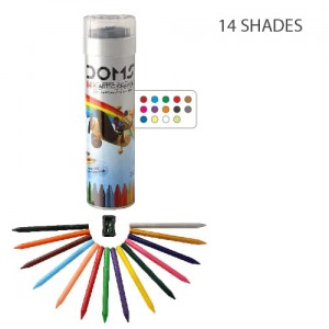 Doms 14 Shades Plastic Crayon Round Tin (1pc)